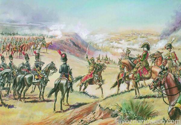 Lasalle en espera de las órdenes del Mariscal Bessières durante la batalla en Medina de Rioseco, lámina de A. Telenic