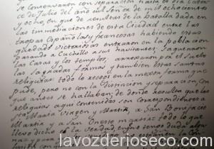 Documento de 1808 escrito por el cura de Santa María.