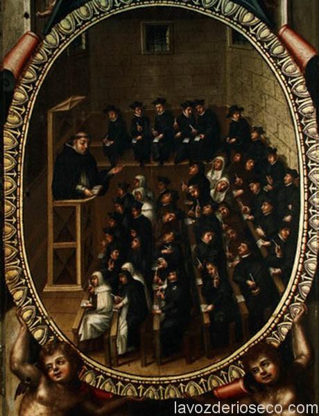 Aula antigua de la universidad de Salamanca, con alumnos de diversas órdenes religiosas, pintado por Martín de Cervera, 1614.