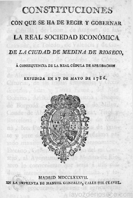 Portada de las constituciones de la Sociedad, del año 1786.