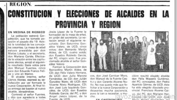 La primera corporación democrática, en un recorte de prensa de El Norte de Castilla.