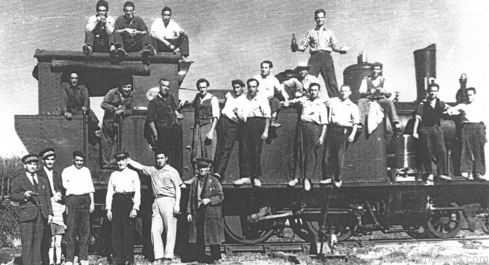 Empleados del ferrocarril durante los años 40/50.