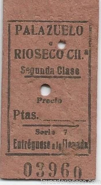 Billete del trayecto Palazuelo-Rioseco.