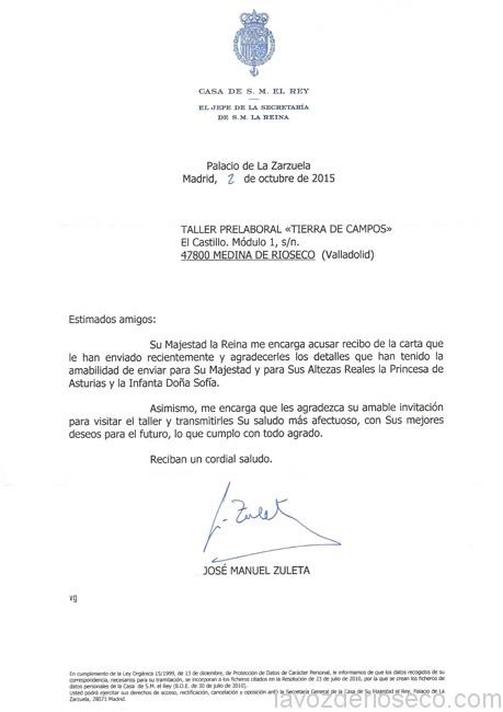 Carta de la Casa De la Reina